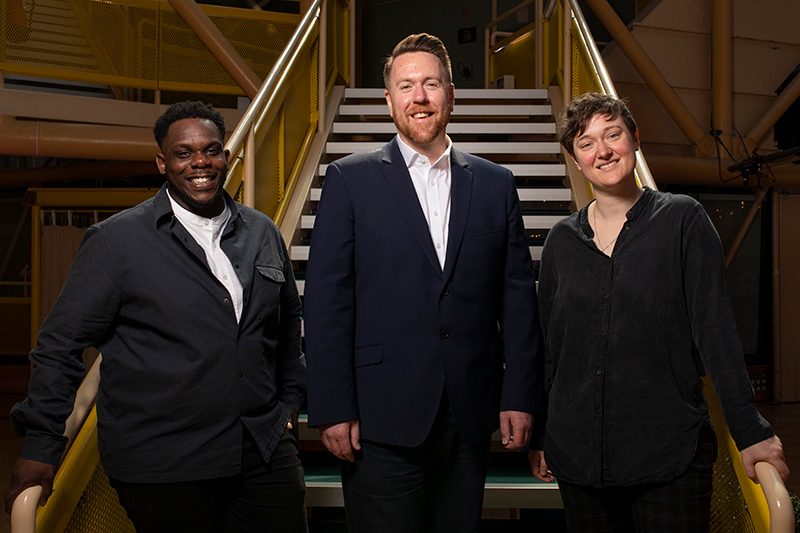 RET Leadership Team L R Roy Alexander Weise Artistic Director Steve Freeman Executive Director Bryony Shanahan Artistic Director Image Lee Baxter 800px