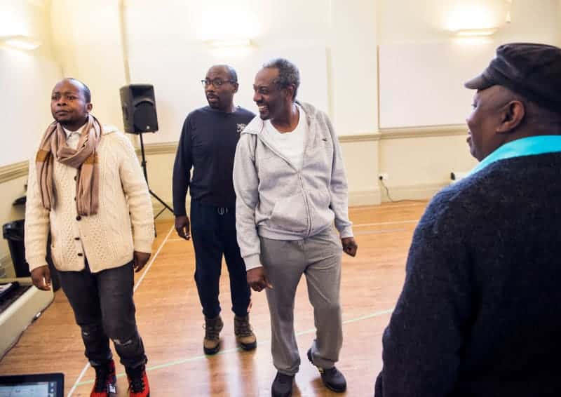 The cast of Black Men Walking in rehearsals
